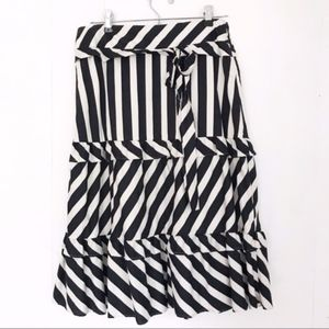 Loft | Striped Skirt with Ruffles and Tie at Waist
